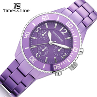 Timesshine Purple Hot Best Women Quartz Watch Wrist Ladies Watch Ceramic Material Waterproof Swimming Watches Women
