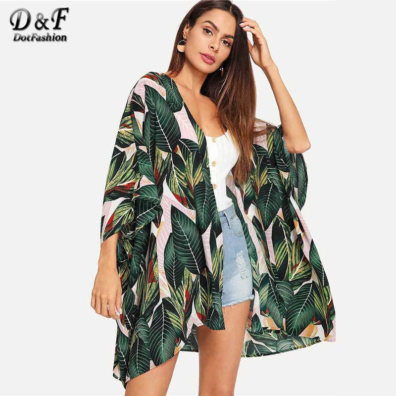 Dotfashion ジャングル葉印刷バットウィングスリーブ着物ブラウス女性 2019 バケーションビーチウェア春延縄着物トップス