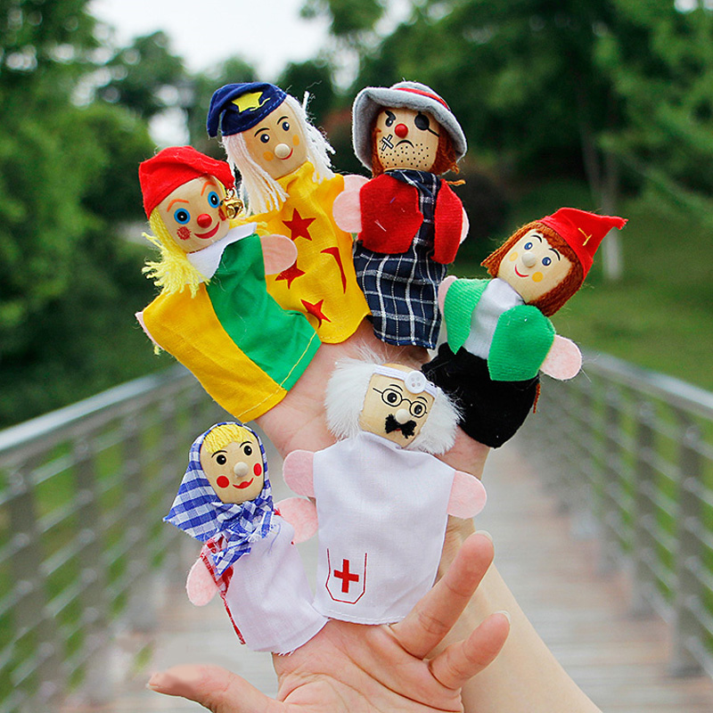 six Occupations hand puppet jods Doctor Pirate clown farmer finger puppet Wooden head le ...