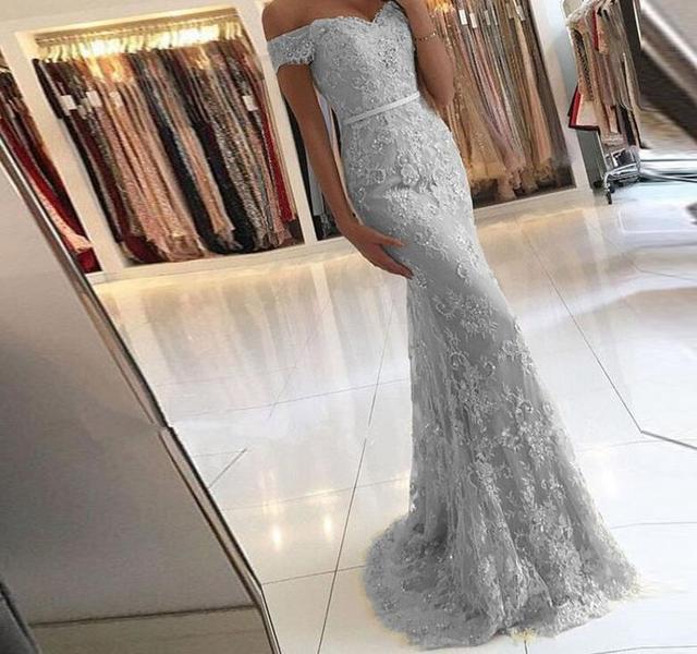 5c4fe41a95 Fora do Ombro Querido Da Sereia Lace 8 grau Vestidos de Formatura Vestido  Noite Longo Baile finalistas 2019