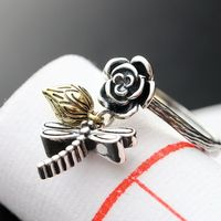Ecoworld Ge Jewelry Wholesale Handmade Silver Lotus Dragonfly Silver Retro 925 Sterling Silver Ring Nvjie Opening
