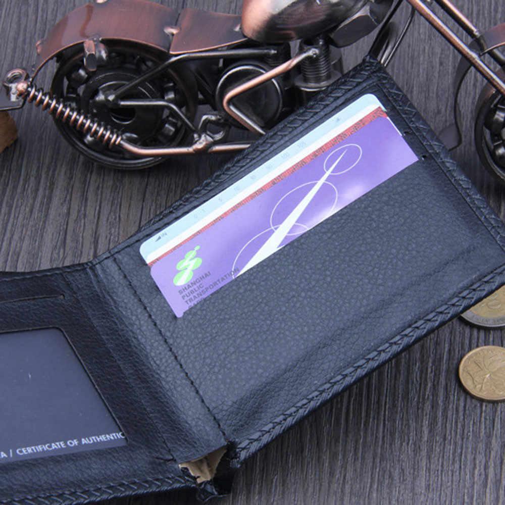 ISHOWTIENDA 男性標準財布 Pu レザーショート財布牛革財布男性の高級財布カードホルダー財布 # LR3