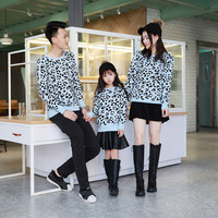 Leopard Print Korean Round Neck Sweater Family Couples Matching Clothing
