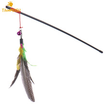 Pet Cat Teaser Multi Color Bird Feather plush Cat Wand Cat Catcher Teaser Stick Cat interactive toys