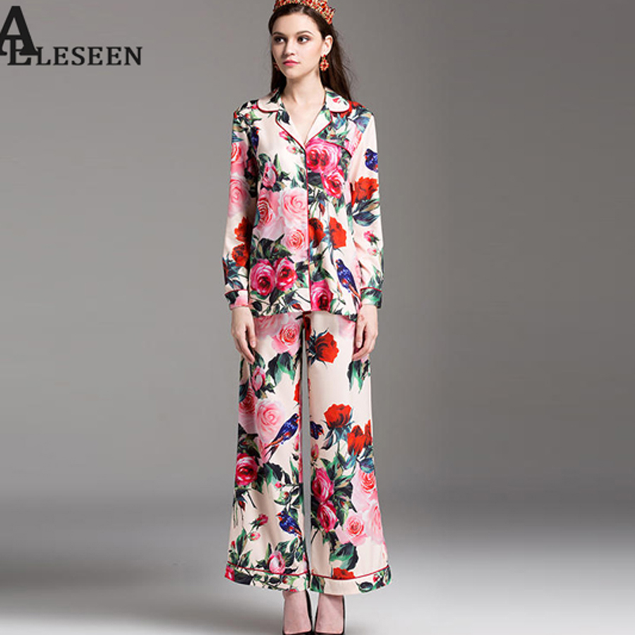 b59fa7443f4a SEQINYY Vintage Two-Piece Womens 2018 Summer New Short Sleeve Ethnic  Flowers Printed Shirt + Casual Loose Flare Pants Suit