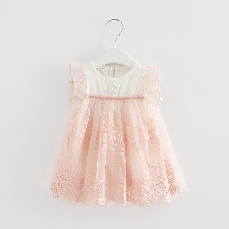 New 2019 Summer Embroidery Party Birthday Princess Kids Clothes Girls Baby Dress Baby Clothing Dress Vestidos De Bebe 2 Color