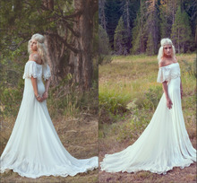 2014 New Arrival Bohemian Wedding Dress 2014 Hippie Bohemian Gown Cream Ivory Off The Shoulder Lace Ruffle Trim EV0133