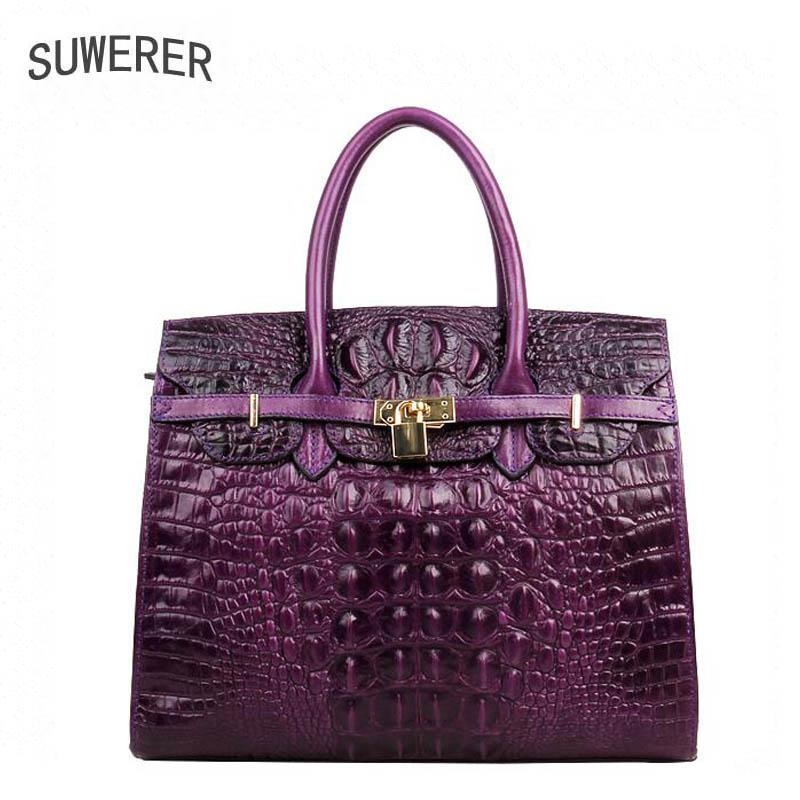 SUWERER New Supérieure Vachette Femmes En Cuir Véritable sacs femmes sacs à main de mode de luxe Crocodile motif fourre-tout femmes sac en cuir