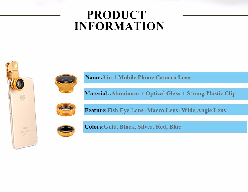 New Fish Eye lens,Wide Angle + Clear Macro Lens For Iphone 5s 6 7 Universal 3 in 1 Phone Camera Len For Sansung Huawei Sony HTC 2