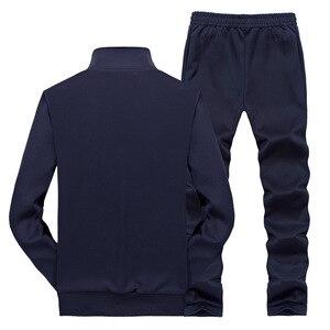 Image 2 - AmberHeard traje deportivo para hombre, chaqueta + pantalón, conjunto de dos piezas, chándal, ropa de talla grande, primavera y otoño, 2020