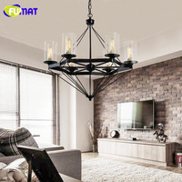 American Style Resturant Pendant Lamp Vintage Glass Candle Pendant Lamp Clothes Store Living Room Hotel Lamps