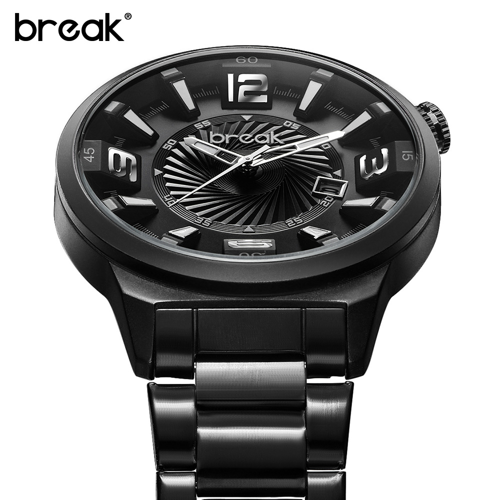 2017 BREAK Top Luxury Brand Men's Quartz Watch Clock Man Waterproof Casual Sport Watches Men Steel Wristwatch Relogio Masculino 2017 new top fashion time limited relogio masculino mans watches sale sport watch blacl waterproof case quartz man wristwatches