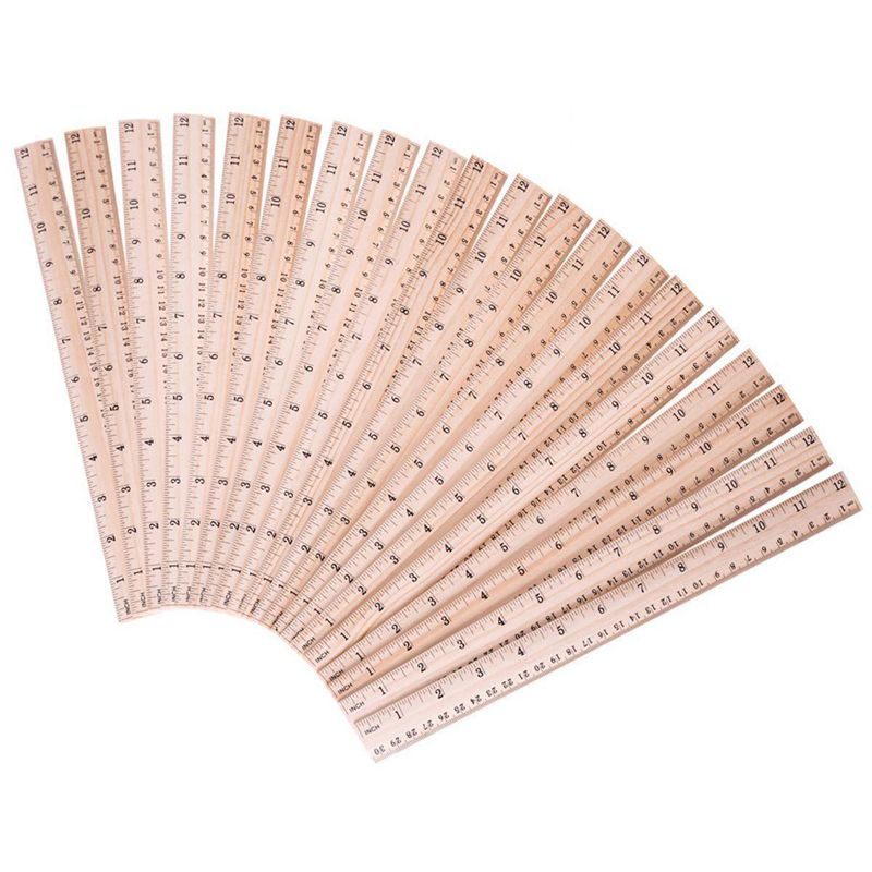 HOT-20 PCS Pack Wood Ruler For School /Office /Student Wooden Measuring Ruler,  With 2 Scale (12 Inch And 30 CM)