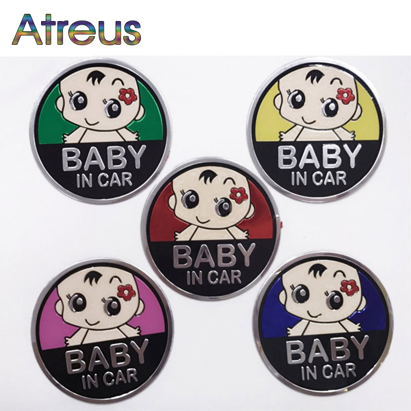 Atreus 1Pcs Baby In Car Styling Car metal decorative stickers for VW Polo Jetta Toyota Corolla Mercedes W203 Saab Renault Dacia