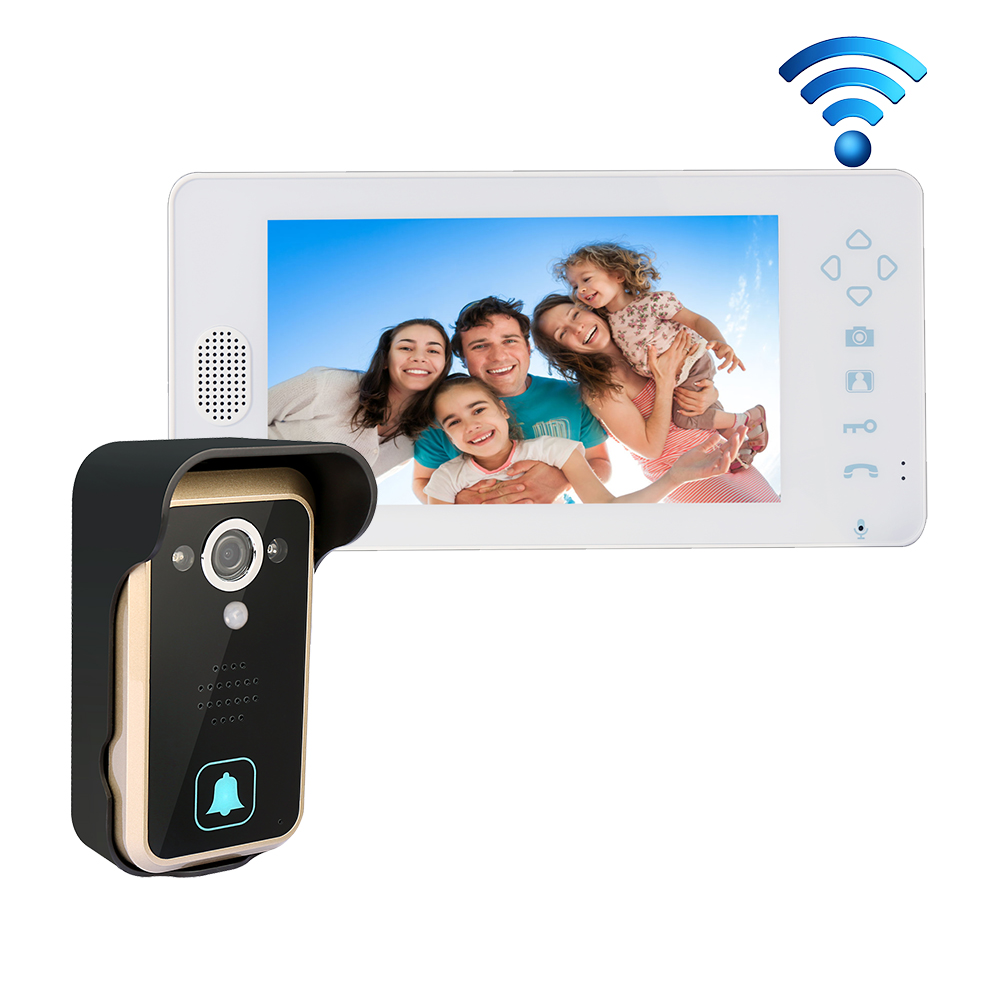 Free Shipping 2.4G Wireless 7 Touch Color TFT Video Door Phone Intercom System  + Night Vision Outdoor Camera+ 1 White Screen