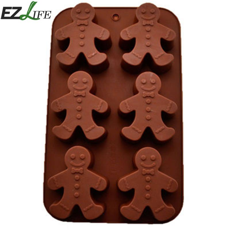 EZLIFE 3D Silicon Chocolate Fondant Cake Jelly Tray Pan Mold Gingerbread Man Molds Ice-cube Kitchen Baking Cake Tools LXW8220