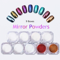 9 Boxes Mirror Nail Glitter Powder 1g Gold Blue Purple Dust Powder Manicure Nail Art Glitter