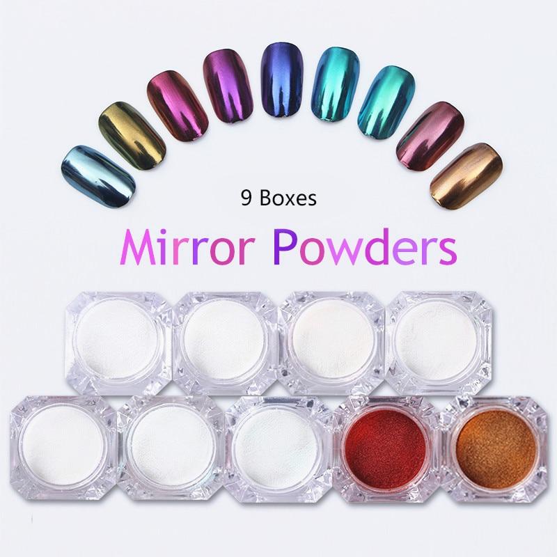 9 Boxes Mirror Nail Glitter Powder Gold Blue Purple Dust Powder Manicure Nail Art Glitter Chrome Pigment Decoration Set