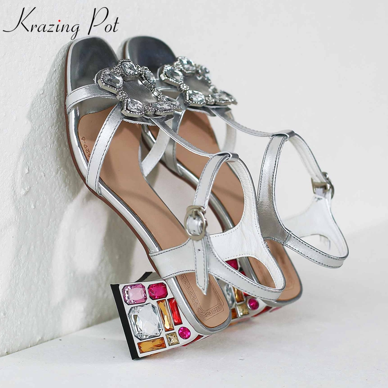 Krazing pot genuine leather peep toe crystal buckle bling high heels diamond studded shiny summer gorgeous