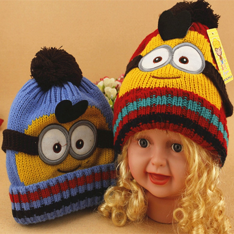 7b64664c607 Minions Beanies Adjustable Bonnet Enfant Winter Wool Knitted Minion  Children Girls Boys Hats 1 5 Yers Old Kids Gorros De Lana-in Hats   Caps  from Mother ...