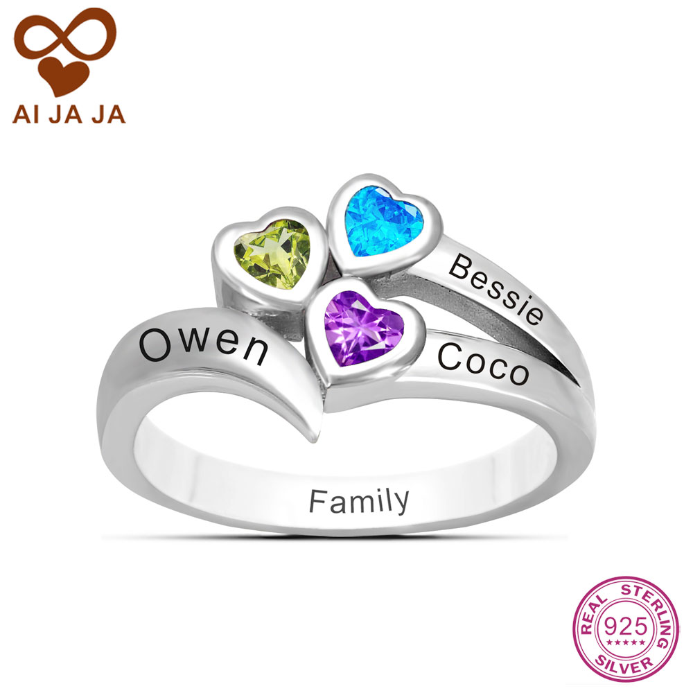 family friendship ring personalized 3 name engraved. Black Bedroom Furniture Sets. Home Design Ideas