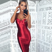 16ff6e8b7a Bodycon Correas Espaguetis Sexy Vestido de Fiesta Rojo con Espalda Abierta  de Satén Oro Midi Vestido Apretado Paquete de la Cade.