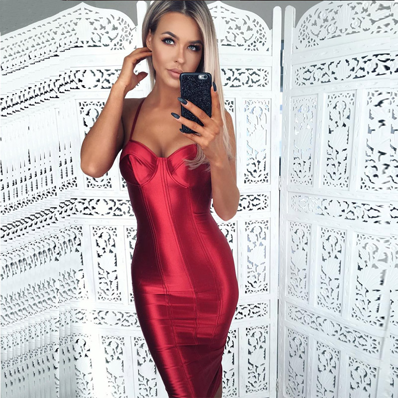 Sexy Spaghetti белбеуі Bodycon Red Party Dress Open Артқа Satin Gold Black Тығыз пакеті Hips түтіксіз Split Midi Dress