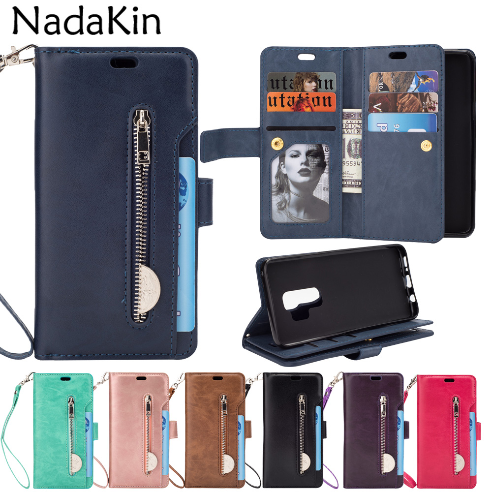 Zipper Wallet 9 Card Pockets Book Case Shell Purse for Samsung Galaxy S6 S7 Edge S8 S9 A6 Plus J4 J6 J8 2018 Note 8 9 A5 A7 2017