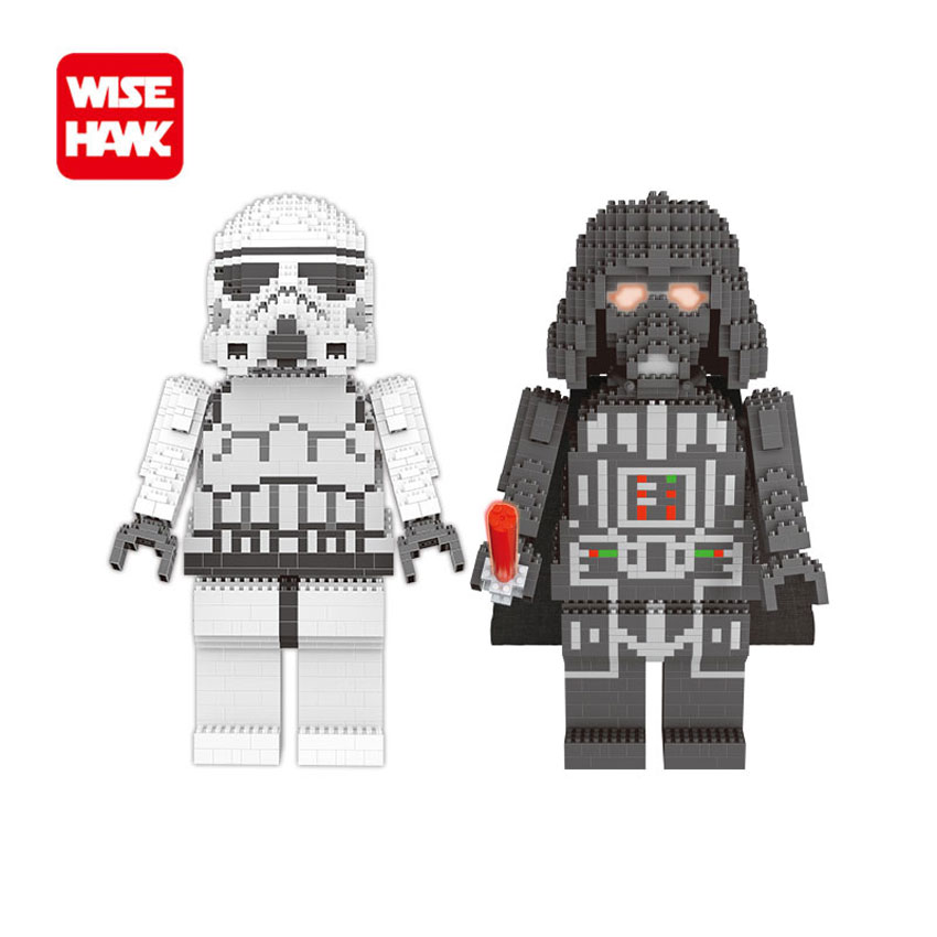 WiseHawk New Arrival Nanoblocks Big Size Stormtrooper BB8 Darth Vader Action Figures Kid Building Bricks Educational Model Toys