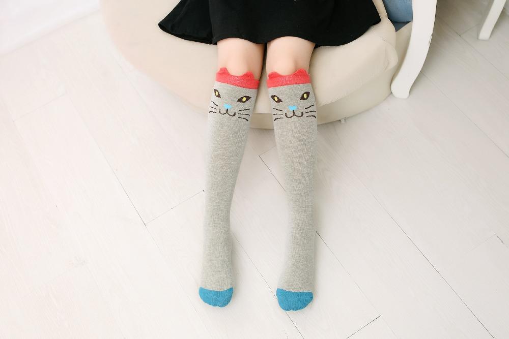 2017 Nowa Wiosna Jesień Dzieci Skarpetki Bawełniane Drukowanie 3D Kot Moda Cartoon Niedźwiedź Taniec Skarpetki Maluchy Dziewczynek Knee Socks 9