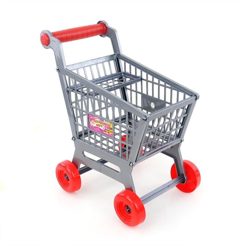 Creative Mini Supermarket Handcart Shopping Carts Toys Folding Mini Shopping Cart Basket Toys For Children