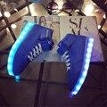 Женщины ПРИВЕЛИ Обувь 8 Цвета СВЕТОДИОДНЫЕ Светящиеся Огни Плоские Туфли женщины Высокого Топ СИД Обувь Для Взрослых USB Зарядка LED Casual обувь