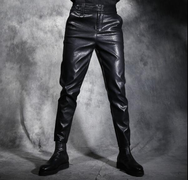 Winter male slim leather pants boot cut jeans fashion elastic drawstring waist leather c ...