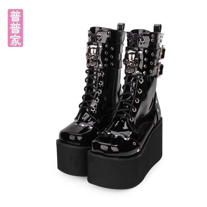 Decoración Punk De Tacón Zapatos Negro Pu8825 Inferior
