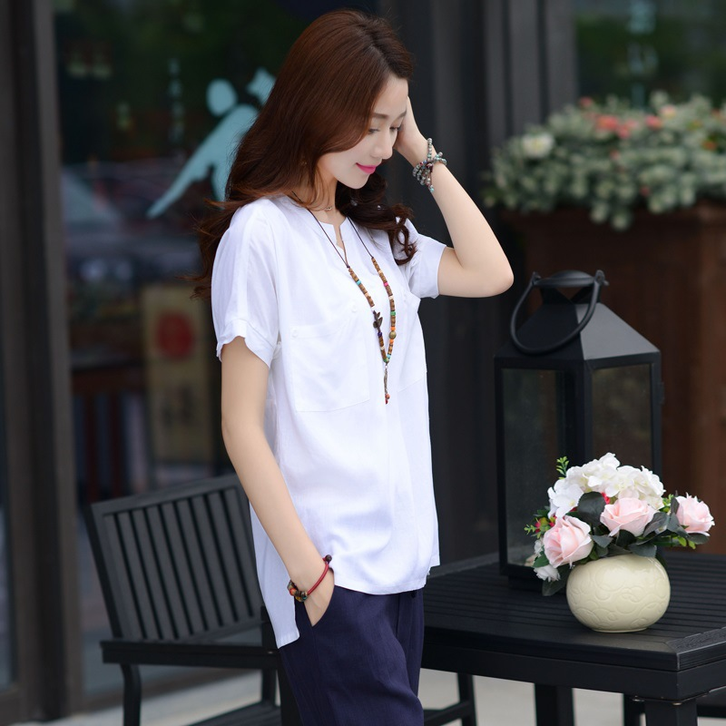 2017 New Women Casual Basic Summer Cotton Linen Blouse pocket short sleeves loose Top Shirt V-neck blusas fashion Plus Size 1