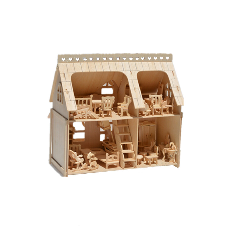 Doll Wooden House With Mini Furniture 3D Wood Puzzle Building Model Toy Gift For Children