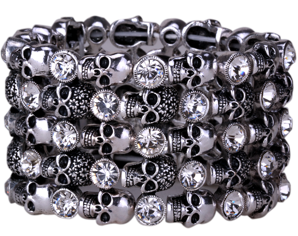 YACQ Skull Skeleton Stretch Cuff Bracelet for Women Biker Bling Crystal Jewelry Antique Silver Color Wholesale Dropshipping D07 3