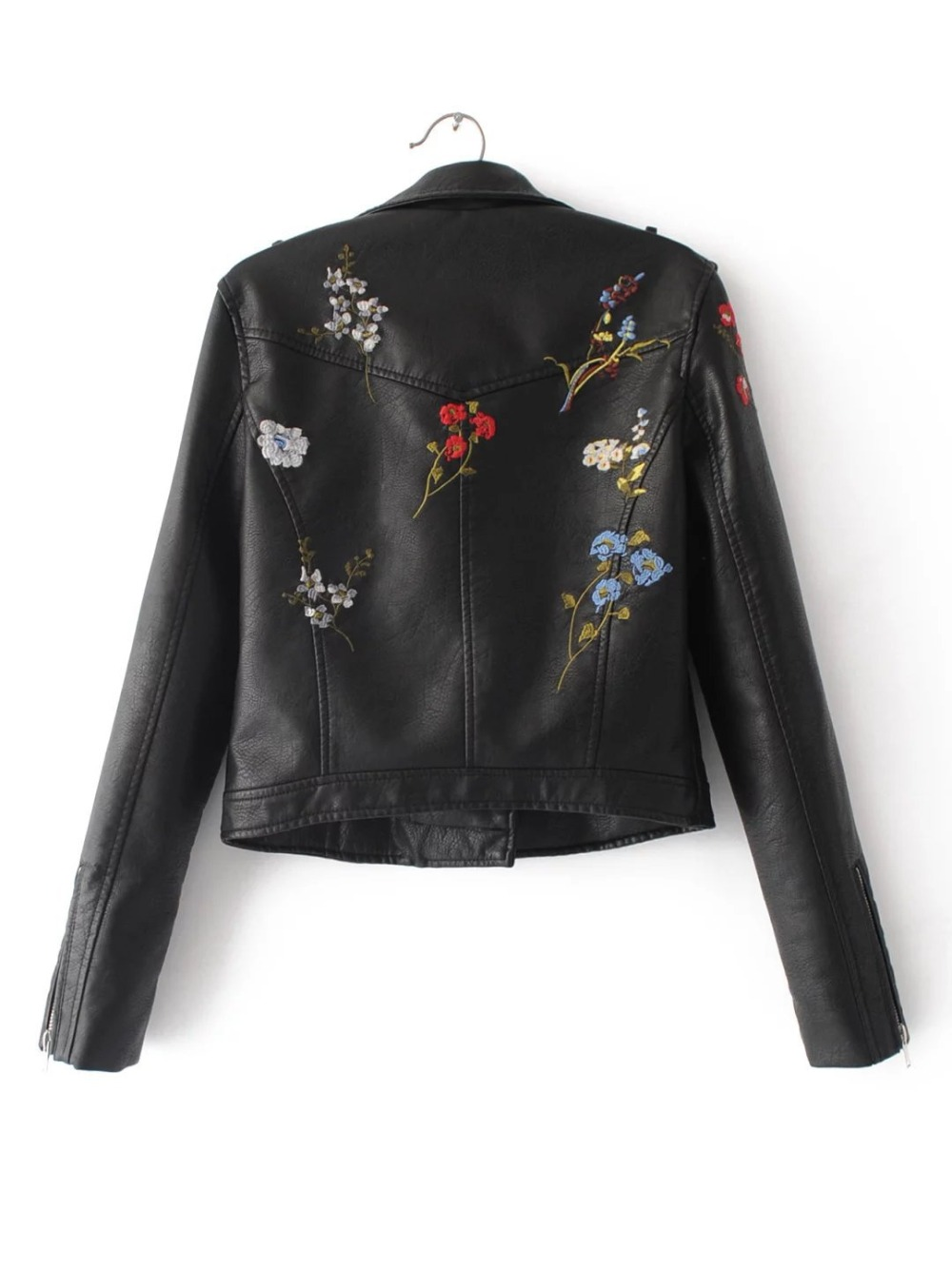 Motorcycle Wash PU Leather Jackets Embroidery Faux Leather Coats Spring Autumn Tops Outwear Overcoat Waterproof Windbreak New Ar