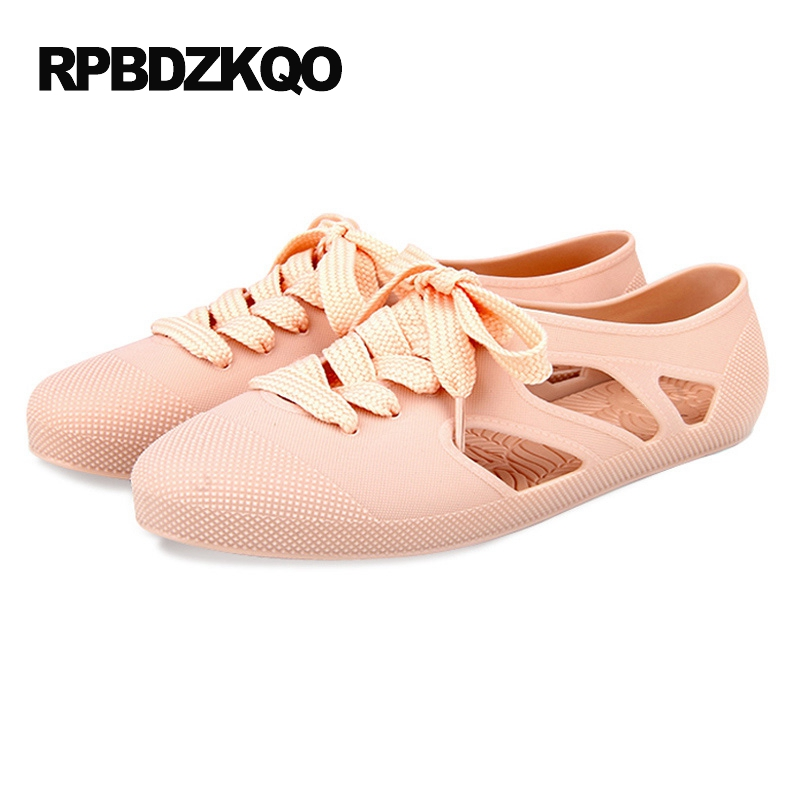 Ladies 2017 Chic Pink Cheap Shoes China Summer Breathable Lace Up Flats Jelly Round Toe Women Hollow Out Soft Fashion European