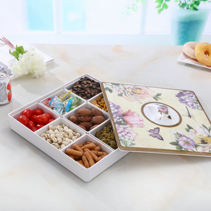 European melamine imitation porcelain compartment with lid fruit box modern living room home candy dish ZP12241632