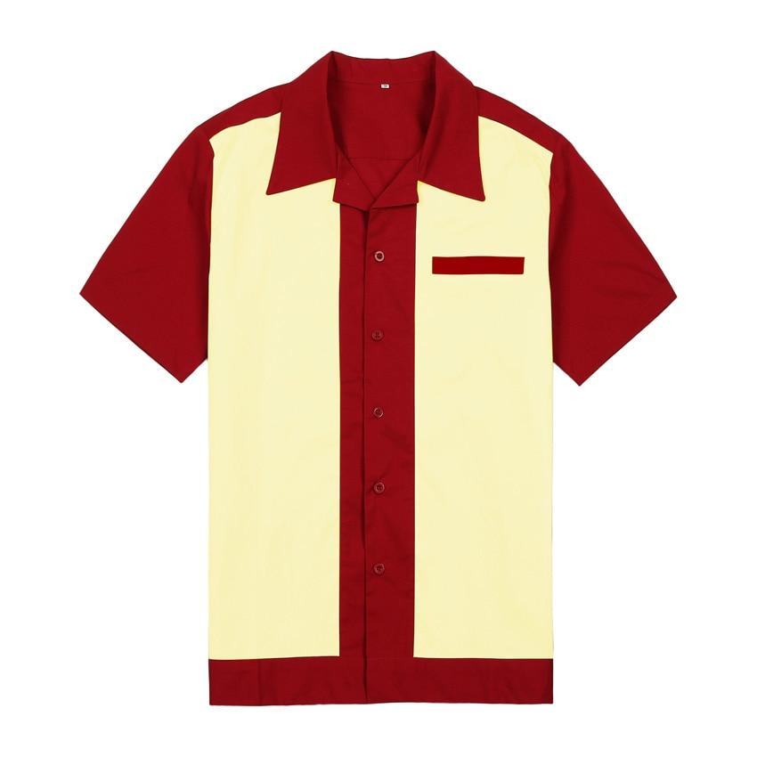 2019 새로운 망 캐주얼 셔츠 플러스 사이즈 반팔 코튼 빈티지 작업 셔츠 버튼 위로 짠 셔츠 로커 빌리 셔츠