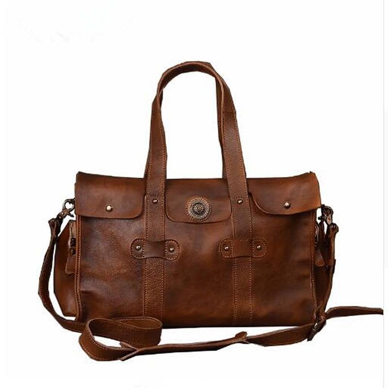 Vintage Genuine Leather Travel Bag Men Women Soft Real Leather Duffel Bag Luggage Travel Bag Business Duffle Bags Weekend Tote