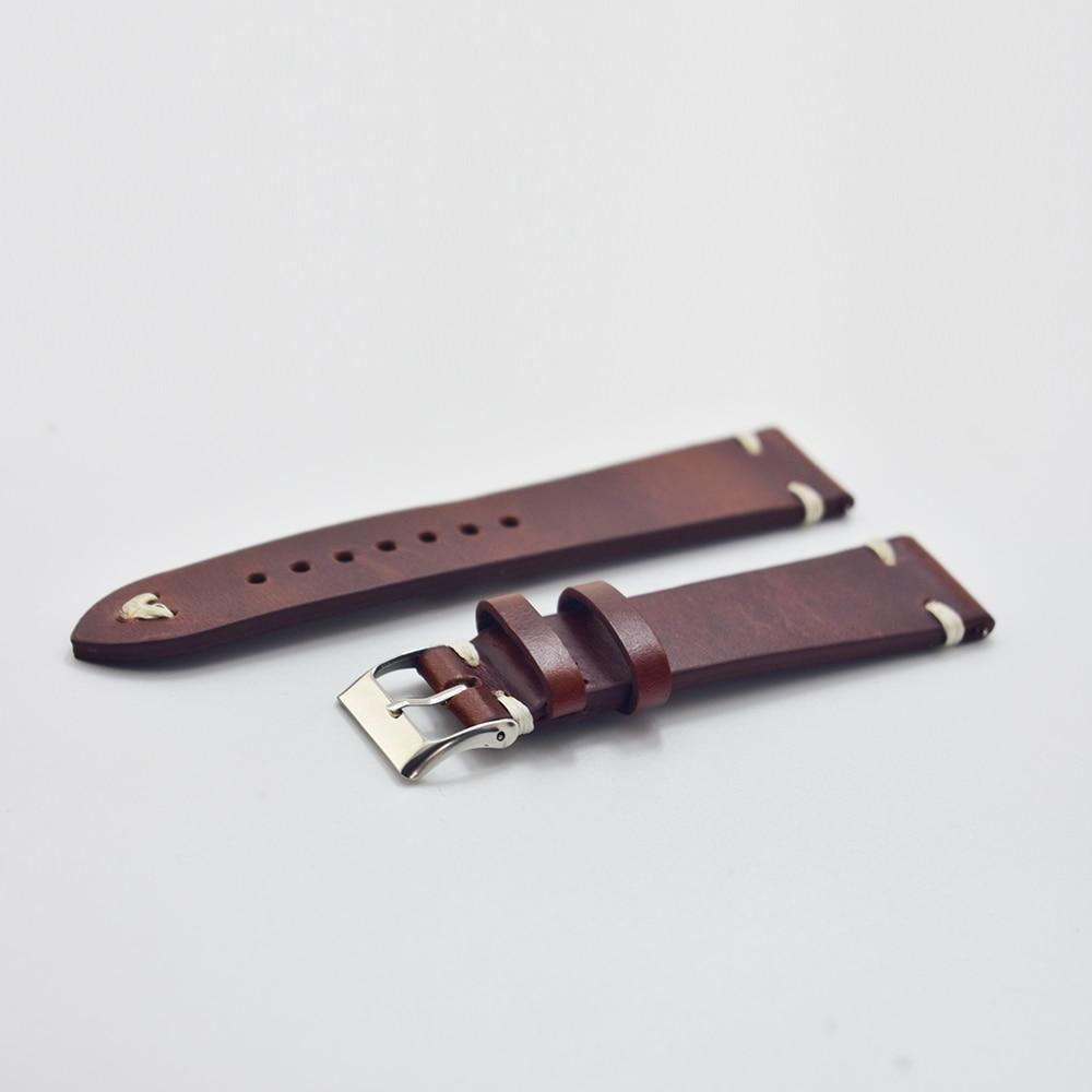 KZFashion New watch bracelet belt Classic Red wine watchbands genuine leather strap watch band 18mm/20mm/22mm/24mm watchband цена