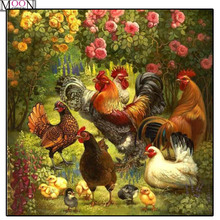 MOONCRESIN DIY Diamond Embroidery Harmonious Farm chicken Painting Cross Stitch Full Square Drill Rhinestone Mosaic Decoration стоимость
