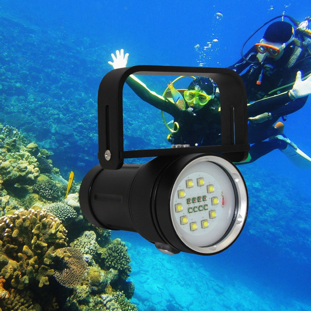 100W Super Bright LED Scuba Diving Flashlight Waterproof Underwater Photography Fill Light Torch Red UV 410nm Lamp 3800lm cree xm l2 u2 led flashlight torch super bright diving torch lamp light underwater 50m professional waterproof lights
