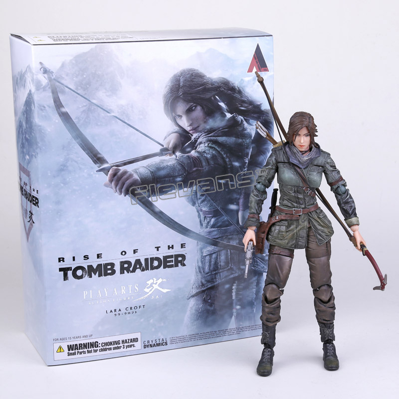 все цены на The Tomb Raider Action Figure Lara Croft Play Arts Kai Toys PVC 270mm Anime Movie Toys Rise of The Tomb Raider Playarts Lara онлайн