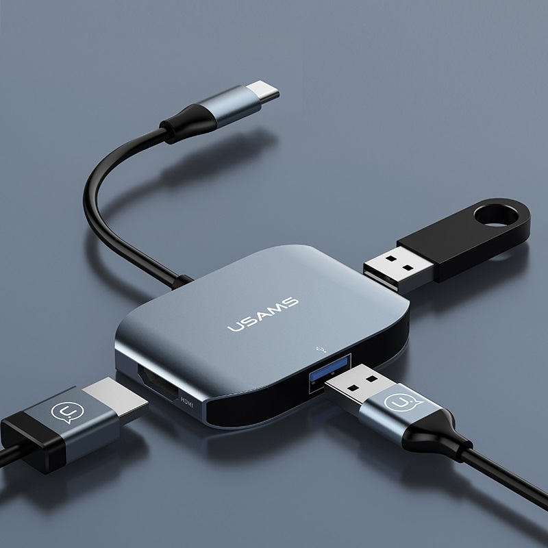 USAMS Brand Type-C To HDMI + USB 3.0 + USB 2.0 Converter Adapter Cable for New Macbook H ...