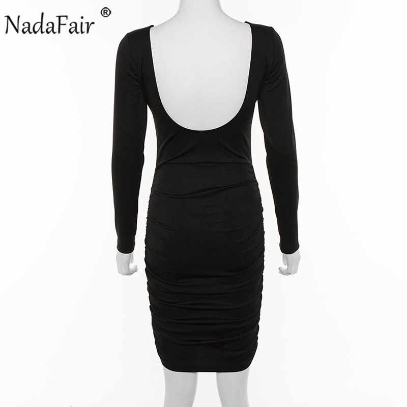 Nadafair/черное облегающее платье миди с рюшами и открытой спиной; женские вечерние Клубные платья с круглым вырезом и длинными рукавами; сезон осень-зима