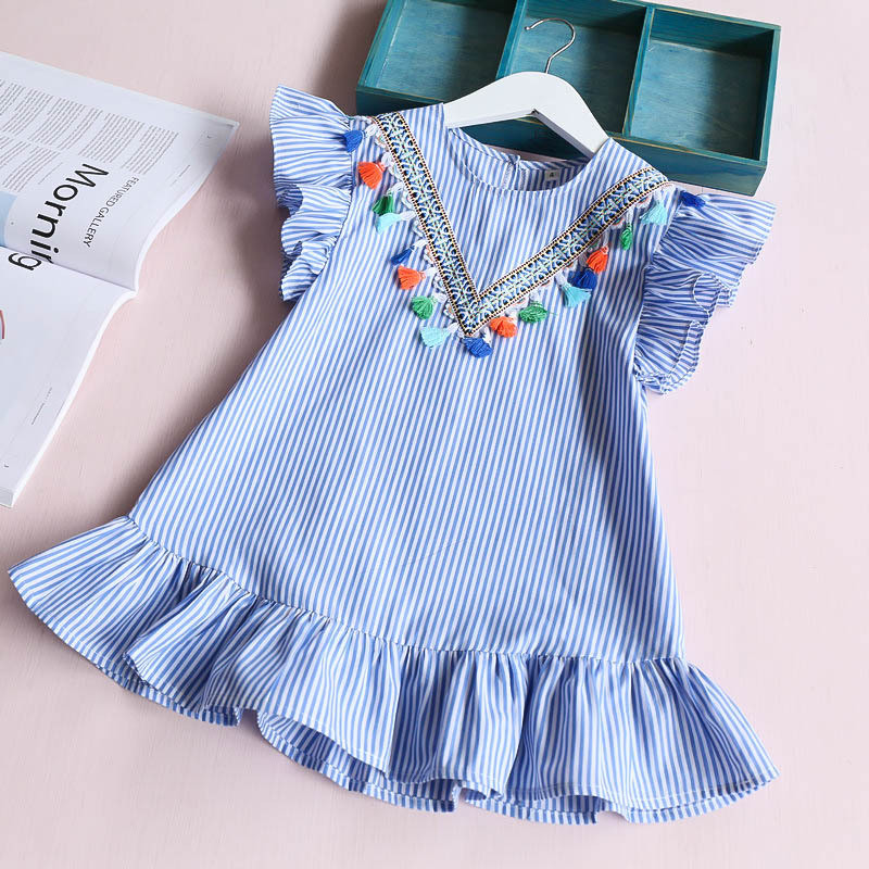 все цены на Danmoke 2017 Summer Girls Dress Girl Clothing Preppy Style Dress For Girl Striped Princess Dress Kids Clothing For 2-6 Year онлайн