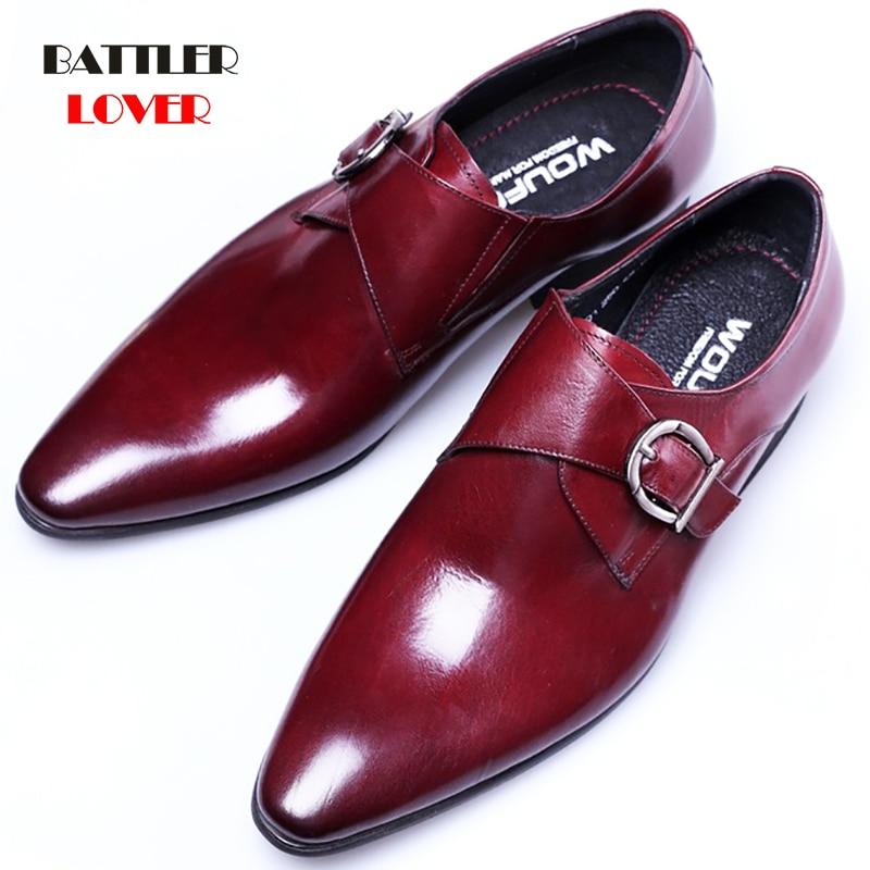 Haute qualité en cuir véritable affaires hommes chaussures habillées rétro en cuir verni bout pointu Oxford chaussures pour hommes taille grande taille 39-48